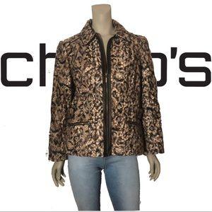 Chico's Jackets & Coats - CHICO'S Faux Fur Animal Print A-line Short Jacket